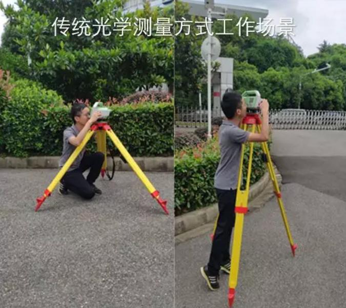传统光学水准测量方式工作场景